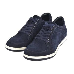 Giorgio Armani Mens Navy Blue Suede Lace Up Sneakers